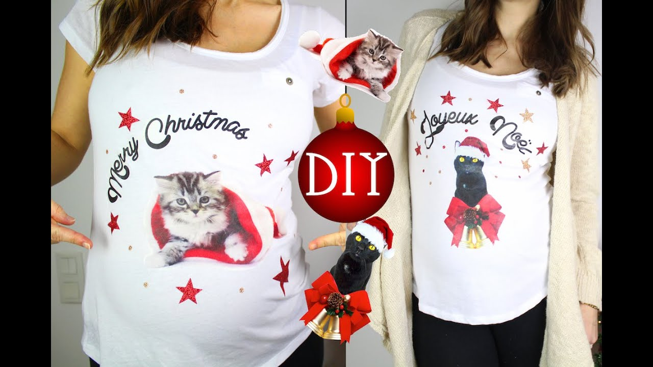 diy cadeau noel customiser un t shirt kitsch chat ou animal ugly christmas sweater youtube. Black Bedroom Furniture Sets. Home Design Ideas