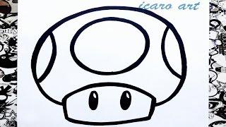 como dibujar un hongo de mario bros | how to draw mushrooms mario bros