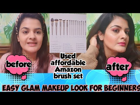 Easy affordable glam look for beginners| Simple makeup look| Trying Amazon makeup brush set|