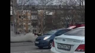 На улице Терешковой в Кемерове горел автомобиль Daewoo