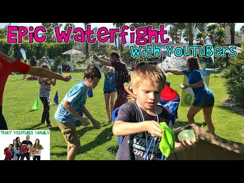 Epic Water Fight With YouTubers  + Sad Goodbyes / That YouTub3 Family