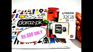 kingston 32GB micro sd card Unboxing and Review| Daraz.pk(Rs.600)