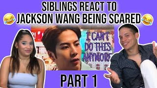 Siblings react to GOT7's Jackson Wang being scared for 5 minutes PART 1😂😂😂 | REACTION