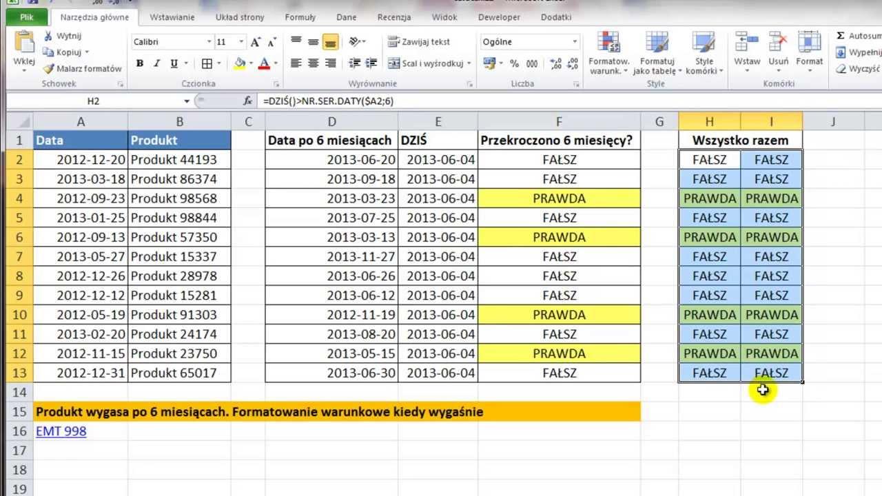 Excel Formatowanie Warunkowe Sprawdzanie Ważności Produktu