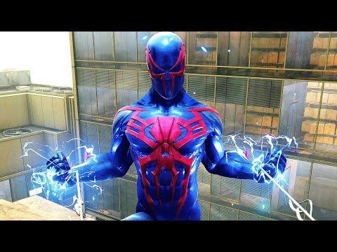SpiderMan PS4  SpiderMan 2099 Suit Electric Combat & Free Roam Gameplay