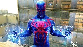 Spider-Man PS4 - Spider-Man 2099 Suit Electric Combat & Free Roam Gameplay