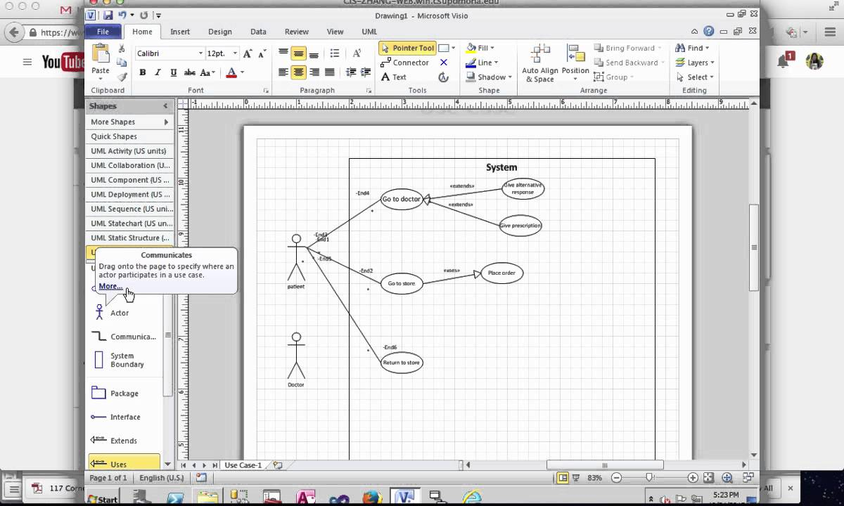 Create Use Case Diagram In Microsoft Visio Youtube