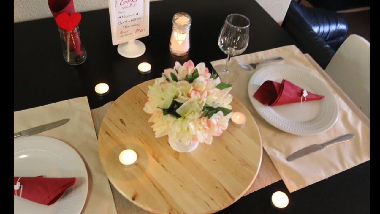 Diy mesa para una cena romantica f cil dia de los for Platos para una cena romantica