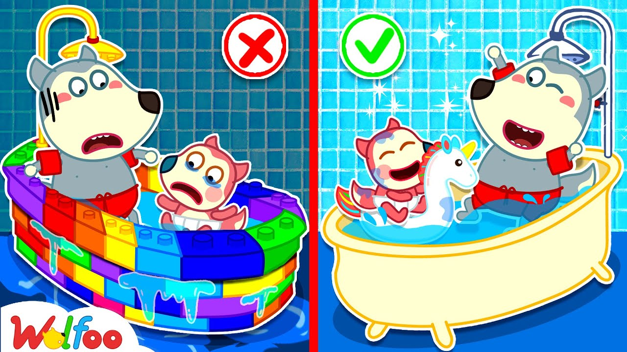 No No, Baby Jenny! Lego Bathtub Is Leaking Water - Kids Stories About Baby Jenny | Wolfoo Channel