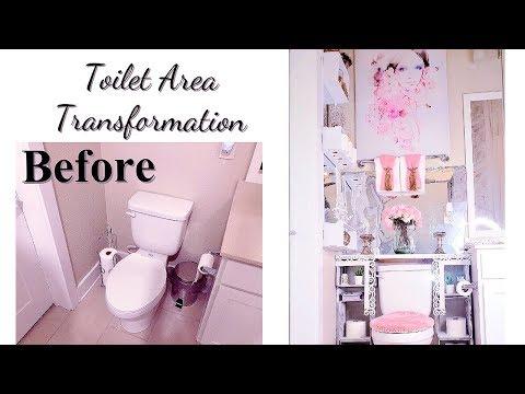 DIY TOILET AREA TRANSFORMATION! LUXURY HOME DECOR IDEAS FOR LESS!