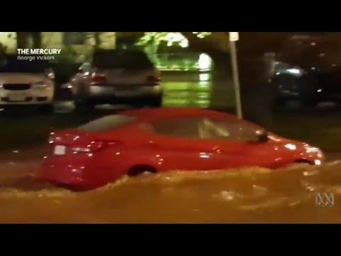 Torrential rain floods Hobart's city centre