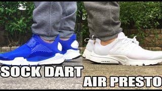 Nike Sock Dart vs Air Presto (On Feet Comparison)(Triple White Nike Air Presto w code EMEB6546 bit.ly/24hIAgz Buy either sneaker here: Nike Sock Dart http://bit.ly/1sxMcyX or http://bit.ly/1sxKDBe Nike Air ..., 2016-05-29T21:00:01.000Z)