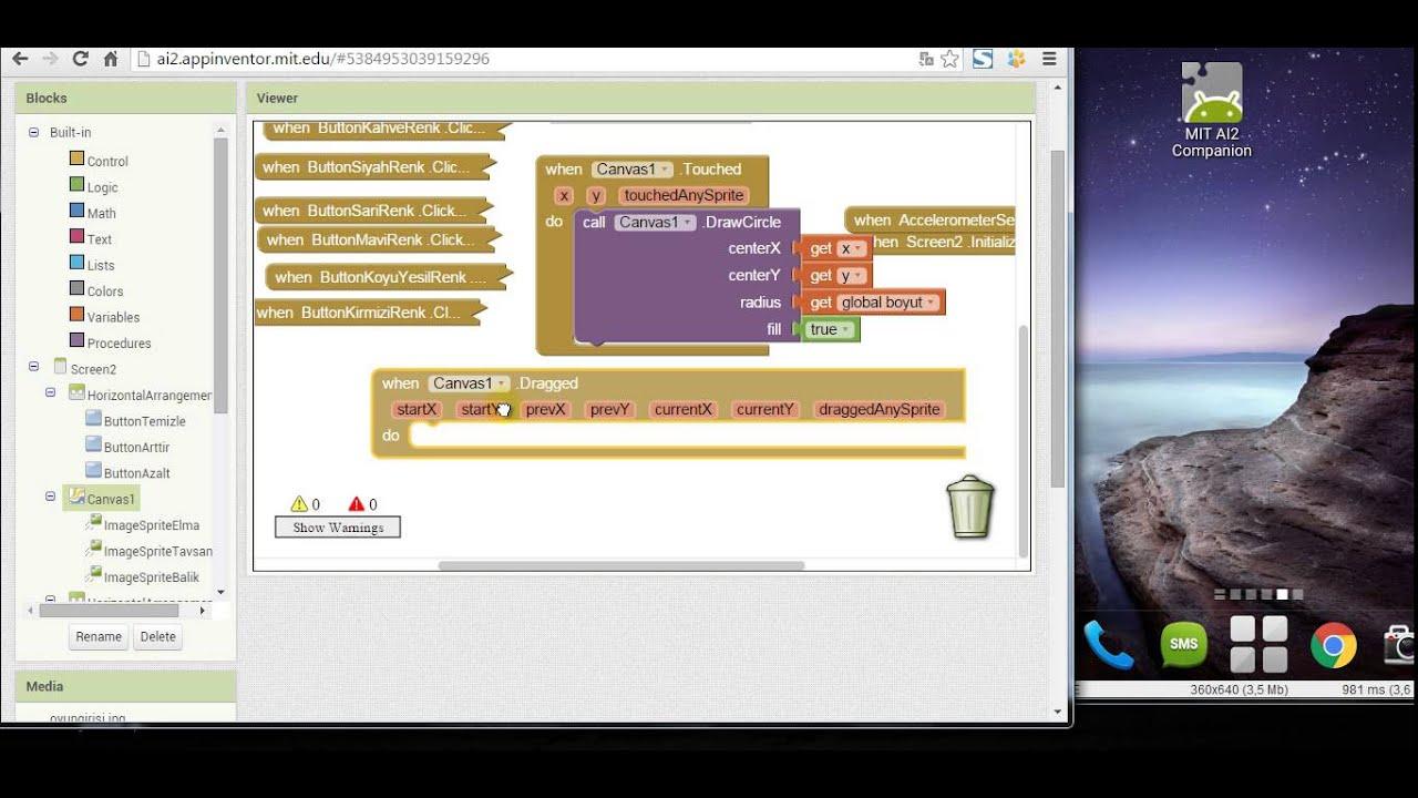 App Inventor 2 Eğitimi 201 Ders 5 Boyama Kitabı Bölüm 5 Youtube