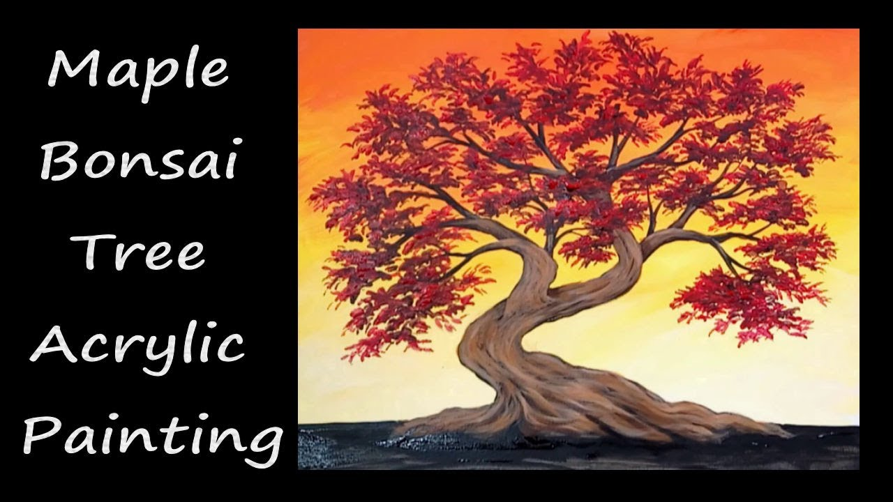 Painting Red Maple Bonsai Tree And Sunset Painting Demonstration Speedpainting Youtube