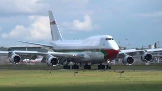 oman royal flight boeing 747 a4o omn landing and takeoff at hamburg airport