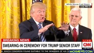 Donald Tump And Mike Pence Administer The Oath Of Office For White House Senior Staff Members