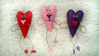 Сердечки-человечки.  Валентинки-магнитики из фетра