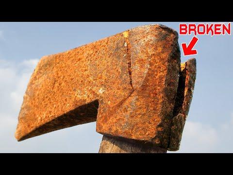 Badly Broken AXE RESTORATION - Epoxy Resin Handle Repair