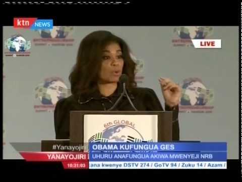 News Anchor Julie Gichuru welcomes Presidents Barack Obama and Uhuru Kenyatta to the GSE stage