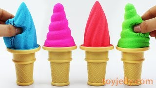 DIY How to Make Kinetic Sand Soft Sherbet Ice Cream Cone Learn Colors Kinder Surprise Eggs for Kids