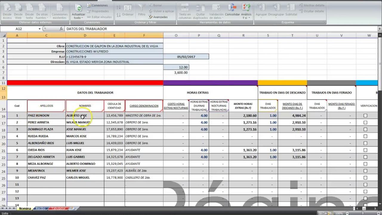 Calculo Nomina Semanal Construcci N Salario Promedio