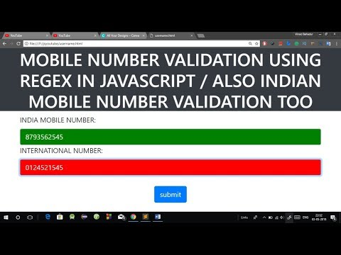 Phone Number Validation in JavaScript using Regular Expression | Mobile  Number Regex Validation