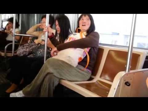 Schizophrenic Asian Woman Fights With Aggressive Homeless Man On S.F. Muni