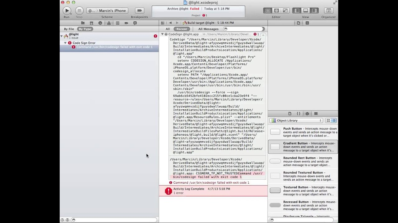 Xcode problem - Command /usr/bin/codesign failed with exit code 1