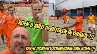 Koen & Milo debuteren in het Nederlands Beachsoccer elftal. Yes-R doneert zonnebank aan Koen.