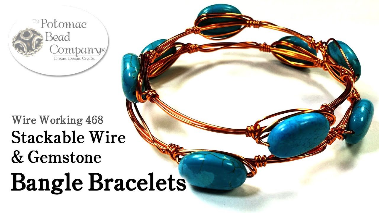 Stackable Wire Gemstone Bangle Bracelets
