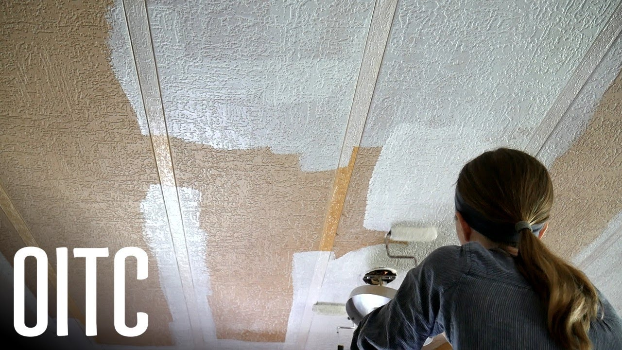 Painting our Stained Mobile Home Ceilings (FINALLY!) on painting rv walls, before and after painting knotty pine walls, interior vinyl paneling for walls,