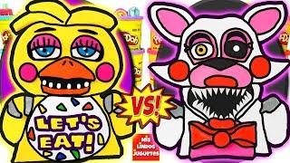 Huevos Sorpresa Gigantes de Five Nights At Freddy s Chica VS Mangle de Plastilina Play Doh en Espao