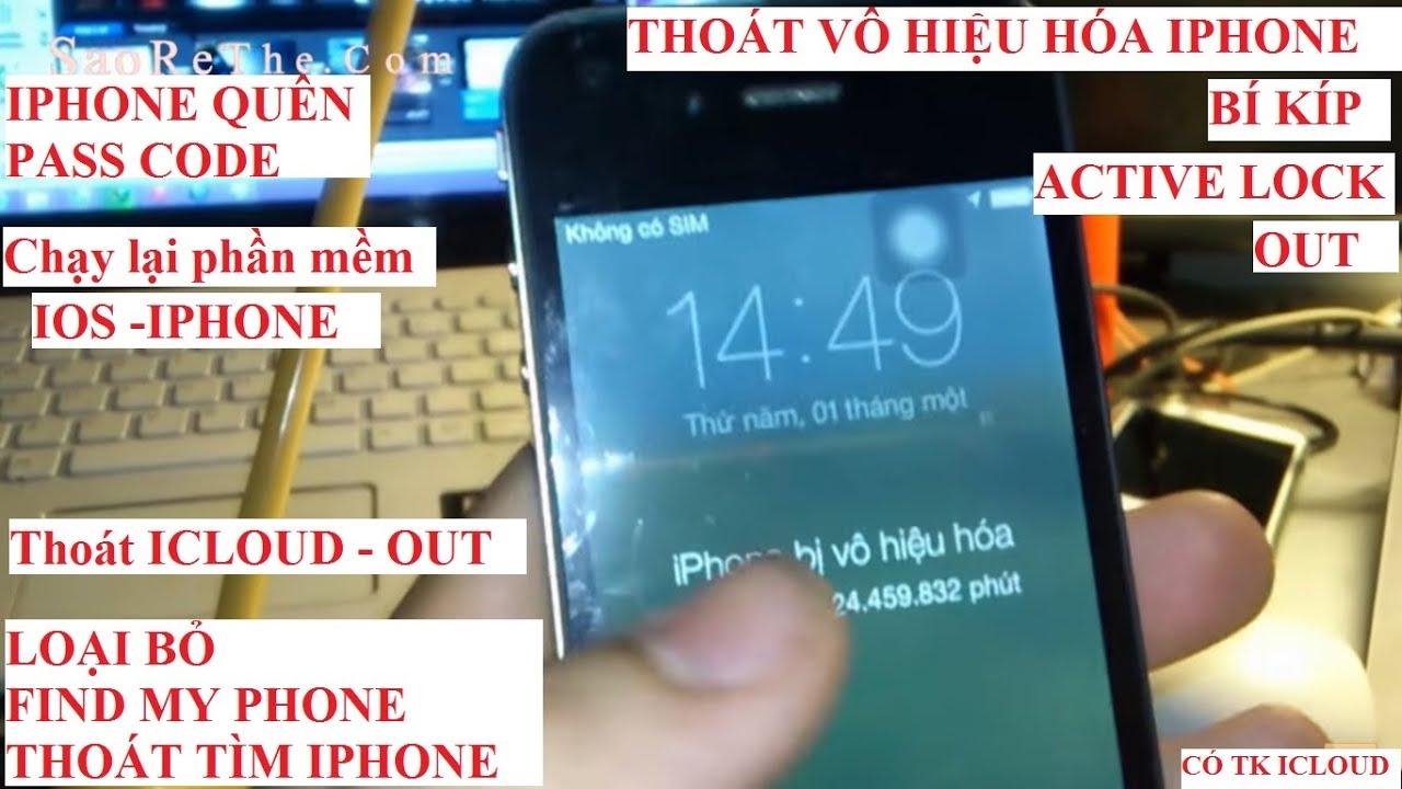 IPHONE Thoát VÔ HIỆU HOÁ, MÁY quên mật khẩu IPHONE 4 (cần tk icloud)