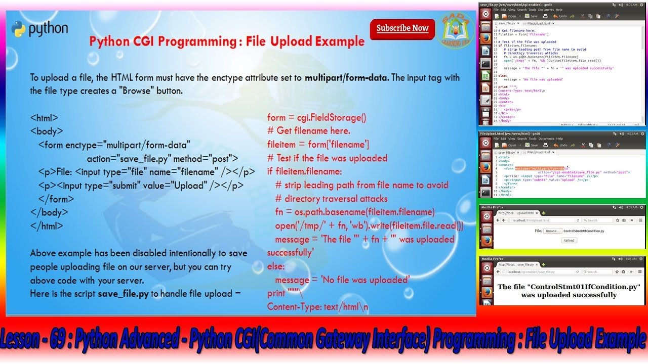 Lesson - 69 : Python Advanced - Python CGI Programming : File Upload Example