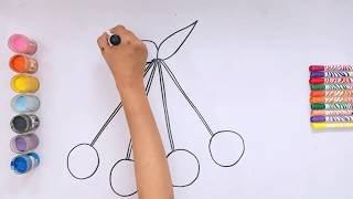 How To Draw a Cherry for kids |Drawing for Kids |Kids Painting Skills
