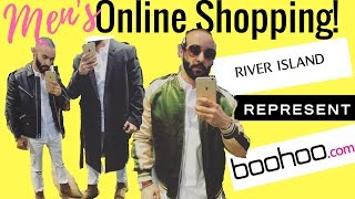 TOP 3 MEN'S ONLINE STORES: BOOHOO, RIVER ISLAND, REPRESENT CLOTHING.