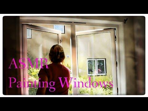 ASMR - Painting windows - 1 hour working - rummaging - (No talking)