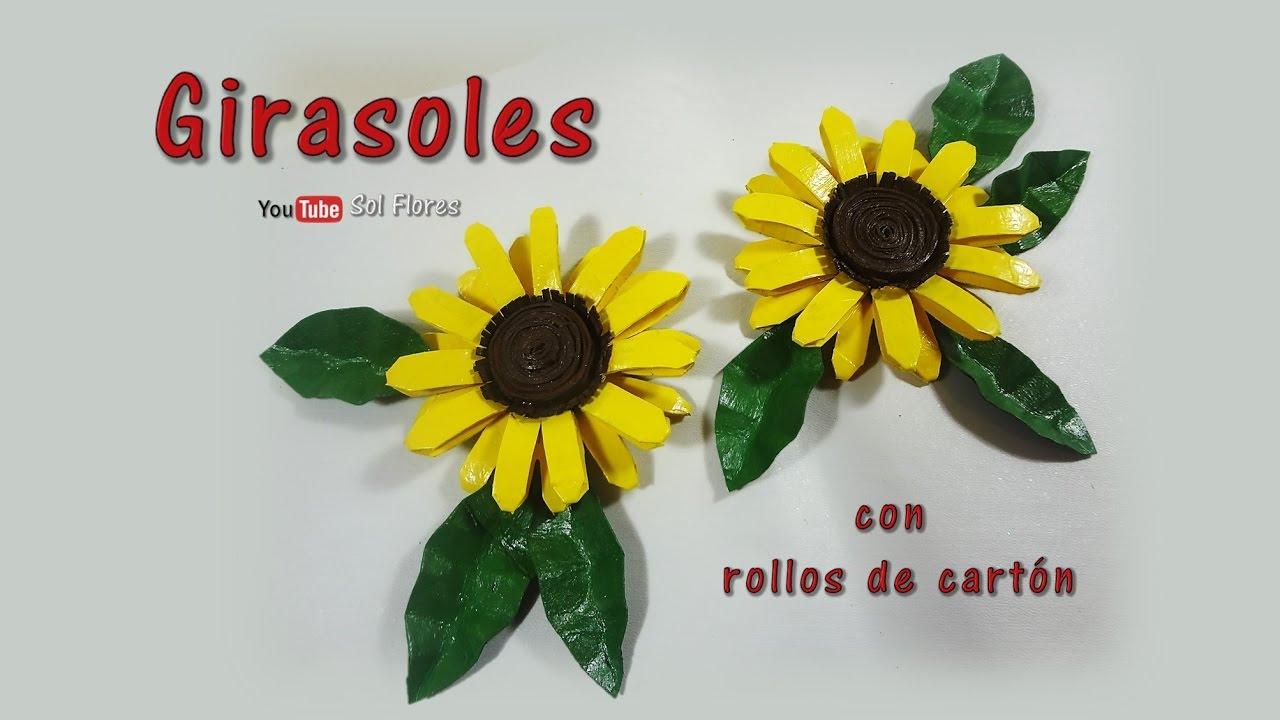Girasoles con rollos de cartón - Sunflowers with cardboard rolls - YouTube