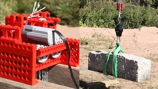 Lego Motor Lifts a Rock (88kg/195lb)