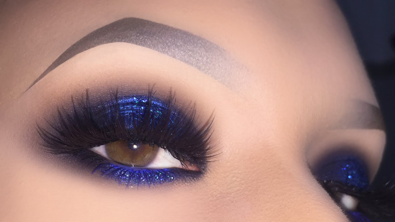 Sexy Blue Smokey For Brown Eyes Glitter Halo Makeup Tutorial Using