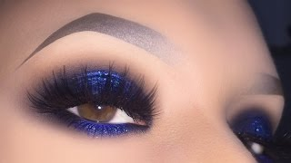 sexy blue smokey for brown eyes glitter halo makeup tutorial using purobio