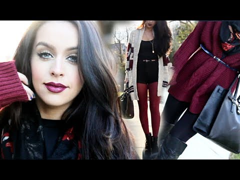 FALL Outfit & Makeup Ideas   Cranberry Lips + 2 Outfits!