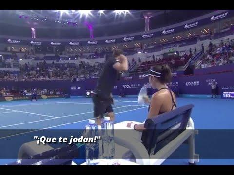 """""""Que te jodan"""", el entrenador de Muguruza la deja plantada a mitad de partido"""