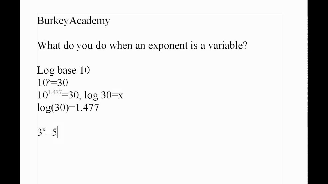 worksheet Solving Exponential Equations With Logarithms Worksheet how to solve x as an exponent youtube