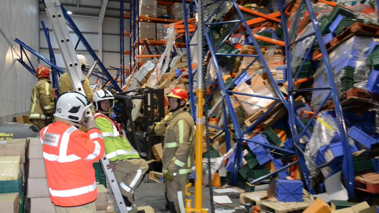 Collapsed Racking Inside The Edwards Transport Warehouse