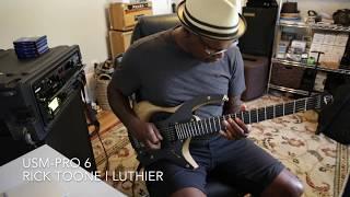 Ede Wright plays Rick Toone USM-Pro 6 guitar.