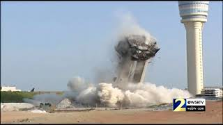 RAW VIDEO: Hartsfield Jackson Airport air traffic control tower implosion