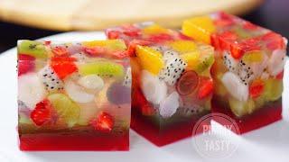 วุ้นผลไม้สด Agar Jelly Fruit Cake Recipe