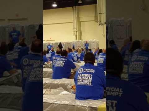 My world record-breaking mattress dominos attempt with Aaron's March 22, 2016!
