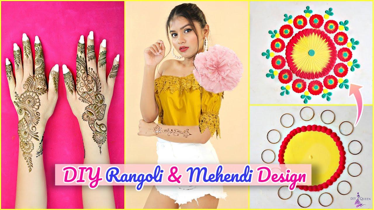 WEDDING Special Mehendi & Rangoli Designs | Step By Step Tutorial | DIYQueen